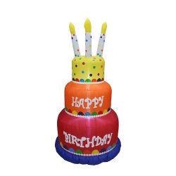 كعكة عيد ميلاد مطاط مع حلوى يارد منزل ديكورات ضوء LED في الداخل