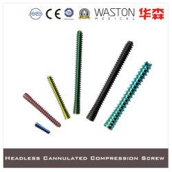 Tornillo de titanio Scew, descabezados, tornillos de compresión, instrumento quirúrgico, Tornillo Cannulated