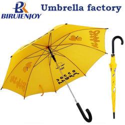 De goedkope Gele Polyester van de Paraplu van de Stok van de Begroting Promotie Rechte met de Druk van het Embleem