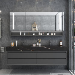 Europese stijl Design badkamermeubilair metalen handvat LED Spiegel Badkamer Kast met stentsink