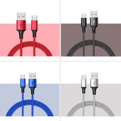 3A 5A 도매 공장 나일론 브레이디드 고속 충전 충전기 케이블 1m 2m 빠른 충전의 데이터 멀티 마그네틱 USB LED 모바일 iPhone용