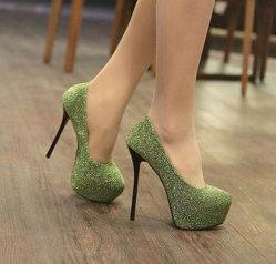 Высокое качество женской высокой пяткой пола Блестящие цветные лаки башмаков платформы внутри 14см вертикально-участник обувь официальных Fshion обувь для женщин