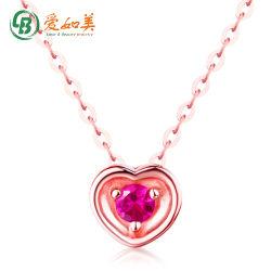 Bela Rosa puro ouro pendente para colar as mulheres Girl coração vermelho pendente de corindo artificial