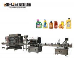 Sauce crème/ Coller//JAM/miel/Liquides/détergent/shampoing /d'huile/eau/bouteille de boisson le piston de remplissage de l'étiquetage automatique de plafonnement de la ligne de production Machine de conditionnement