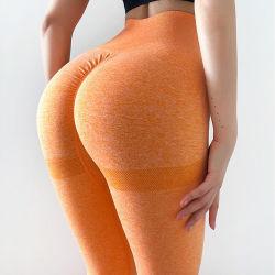 Calças de pêssego Exercício Stretch Pants estanque sem amassar mechas Ioga Perneiras Quick-Dry Topo Desgaste de desporto