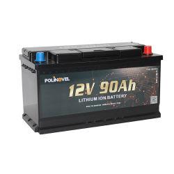 Polinovel 12 V 90Ah Loisirs remorque RV Camper Marine au lithium-ion Batterie cycle profond
