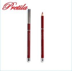 Lápis de cosméticos para Lipliner de madeira com tampa metálica prateada