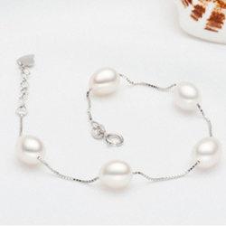 925sterling Silvr Cadena con Pulsera de Perlas naturales de alta calidad