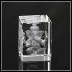 Cristal laser 3D GRAVURE Statue religieuse Ganesha Cadeau souvenir 3 pouce (ND-1010)