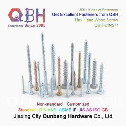 Qbh DIN571 炭素鋼 Wzp 六角六角及び丸型ビューグル 溝付きヘッド粗ねじ乾式壁木製セルフタッピングドリルねじ ルーフリングコイルリングロープテール釘