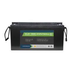 Grande capacidade de 24V 100Ah 2.4Kwh de alta qualidade de armazenamento da bateria de íon de lítio LiFePO4 Bateria