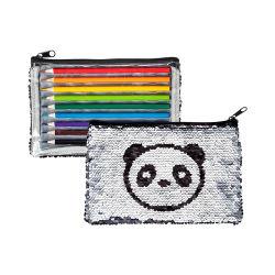 Panda Design Sequin Pencil バッグカラーペンシル 9 カラーパック 子供のギフトのためにセット