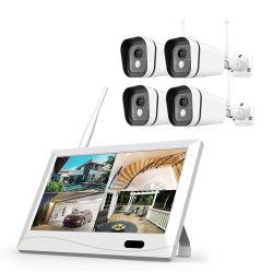 """내장 하드 디스크 드라이브 10"""" LCD를 지원하는 보안 스크린 DVR 모니터 WiFi 카메라 키트 4CH 1080p 무선 CCTV 시스템"""