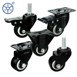 WBd 1.5인치 2인치 소형 회전 회전식 회색 PVC 캐스터 휠 루다 지라토리아스 파라 뮤블