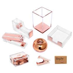 Luxe kantoorbenodigdheden Cadeauset Acrylic Rose Gold Penhouder Organizer Supplies Desktop Accessoires voor dames