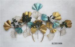 Ручная работа на стене висел металлический голубой Золотой букет для украшения дома