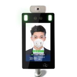 Heißes Verkaufs-Gesichts-Anerkennungs-System mit automatischem Temperatur-Messen, Schablone kennzeichnen Gesichtsanerkennungs-Zugriffssteuerung-Terminal mit Doppelkamera