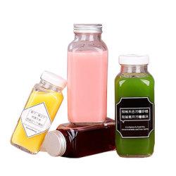 Bottiglie beventi rese personali di vetro su ordinazione di marchio con il coperchio/protezione bianchi, per le spremute, Smoothies, bevande, 250ml, 350ml, 500ml