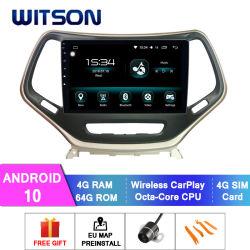 Android Witson 10 aluguer de DVD de navegação GPS para Jeep 2016 Cherokee 4GB de RAM 64GB Flash grande ecrã no aluguer de DVD