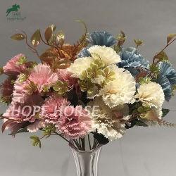 화려한 실크 인공 꽃 파이브 헤드 카네이션 도매 인공 꽃 웨딩과 홈 장식을 위한