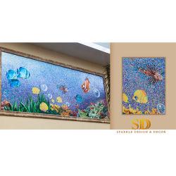 De de naar maat gemaakte Kleurrijke OceaanMuurschildering van Vissen/Muurschilderingen van het Mozaïek van het Glas van het Werk van de Kunst van het Patroon voor het Decor van de Muur