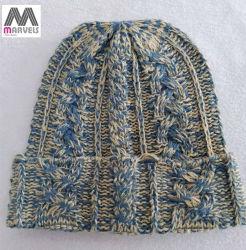 Mélange de gros Bonnet tricoté couleur par câble dame