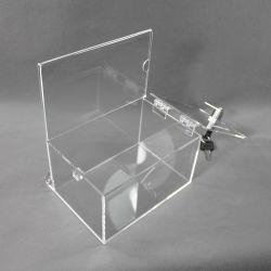 En acrylique transparent de bulletin de vote de don ou de Boîte de suggestion de la tombola avec un verrou et support d'Enseigne amovible
