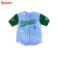 Ajuste a seco personalizado Aibort Sublimação Botões Completa Baseball camisolas