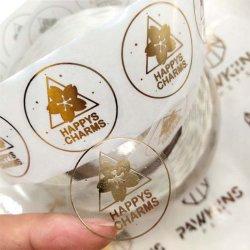 Autocollants d'emballage transparents avec logo autocollant, rouleau d'aluminium doré étanche Étiquette