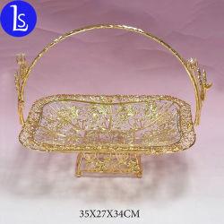 Parte de la artesanía del Metal Decoración de Bodas cesta de frutas con placa de vidrio