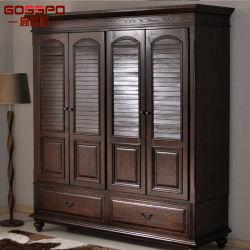 Шкаф мебели спальни деревянный с Louvered дверью (GSP17-009)