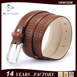 Haut de la courroie en cuir véritable cuir de vache de grain tressé courroie Needlepoint Hommes