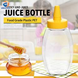 Fles van de Jam van de Honing van het Huisdier van de Fles van de douane 16oz Hexagon Duidelijke Plastic met het Deksel van de Neus van de Naald
