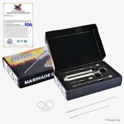 304-Marinade de viande en Acier Inoxydable Kit Seringue de l'injecteur (2 oz) de la FDA