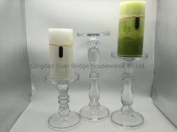 石蝋はクリスタルグラスのホールダー/Setで勾配カラー柱の蝋燭を作った