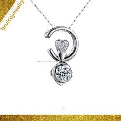 Fashion 925 Silver forme de coeur bijoux Collier Pendentif Zircon ornement bijoux en diamants colliers
