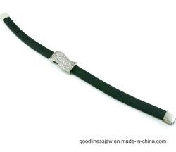 Braccialetto d'argento degli accessori di modo 925 con cuoio nero (BT6596)