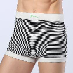 Auf Lager Streifen Schwarz und Weiß Anti-bakteriell nahtlose Bambus Viskose für Boxershorts Für Herren Unterwäsche