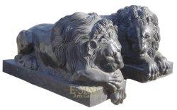 Gepolijst Customized Stone Black Marble Ling Lion Carving voor buiten Villa poort