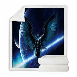 Зимние шерпа одеяло с черными Angel печатаются на его