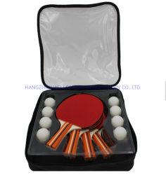 OEM de venda quente 4 Player raquete de tênis de mesa de madeira com 8 Bolas e saco de transporte