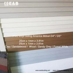 Fornecimento de fábrica de PVC decorativo de plástico de 10 polegadas de largura Painéis em vinil para paredes exteriores ao Chile
