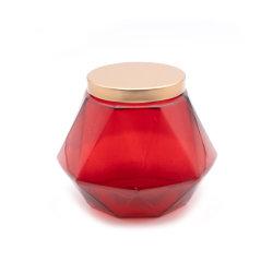 Jarra de vidro colorido/ suporte para velas de vidro com formato exclusivo com Tampa Metálica