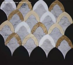 Calacatta Gold Metal Marble Mozaïek vissen schaal Waterjet Tegels voor Keuken vloer en muurdecoratie