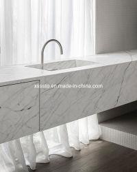Parti superiori di marmo bianche di vanità di Cararra per la stanza da bagno