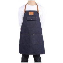Оптовая торговля стильных женщин и мужчин - работа на кухне гриль для приготовления пищи шеф-повар хлопка деним халат с кожаными ремнями