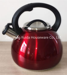 Edelstahl-Küchenbedarf-gesetzter Gebrauch auf die Ofen-Oberseite 3.0 Liter-Edelstahl-Tee-Potenziometer mit pfeifender Tülle im bunten Farbanstrich und in den fixierbaren Griffen