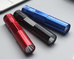 Promoción de LED Linterna de aluminio, la Mini Porcket Antorcha Linterna portátil ligero con pulsar el interruptor, de 3 colores, luz de regalo promocional barato
