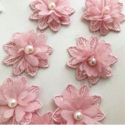 Commerce de gros 3D'Organza perles dentelle chimique à la main pour mariage robe dentelle textiles
