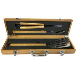 Haute qualité 3PCS BARBECUE Outils réglés avec du bambou Boîte à outils Set Barbecue portable avec poignée en bambou